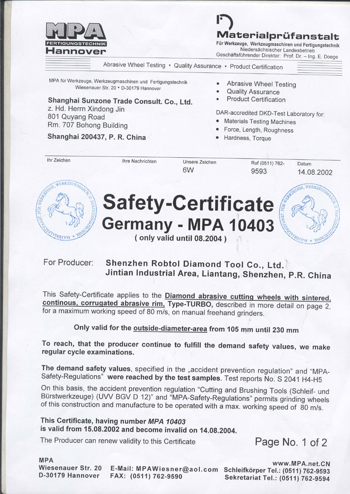 Robtol Mpa Product Certification